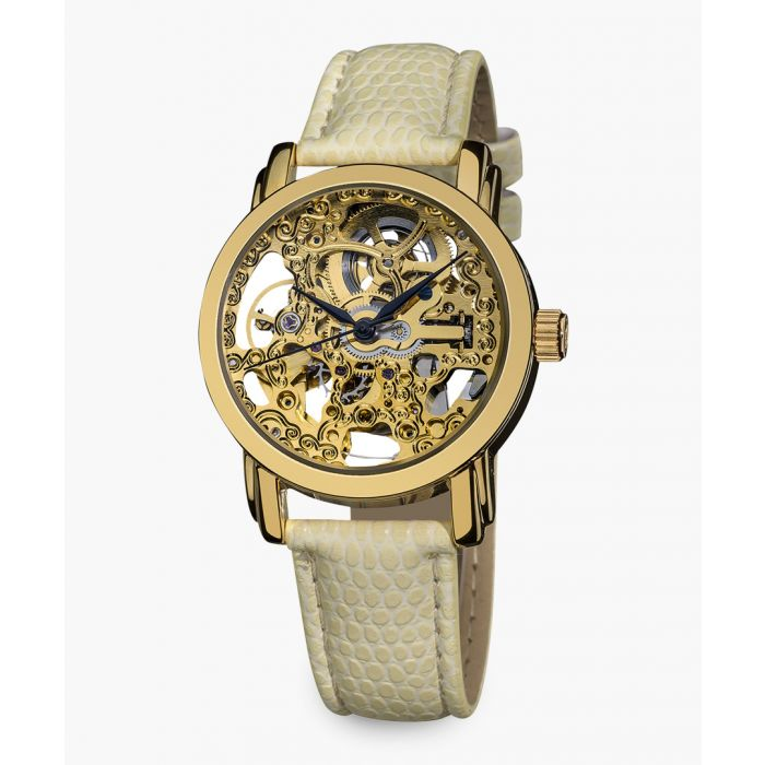 Image for Gold-tone and cream leather skeleton watch