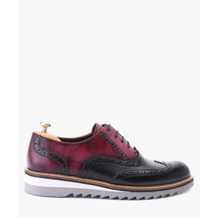 Image for Bordeaux and black oxford brogue leather shoes