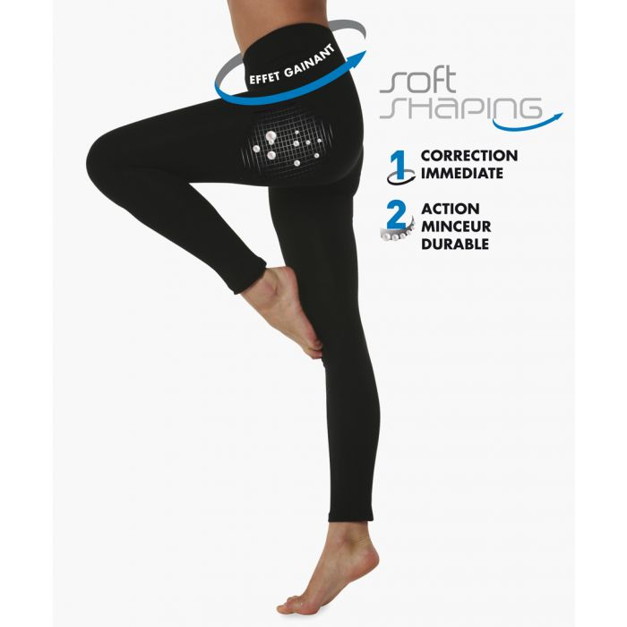 Image for Black cotton blend shaping leggings