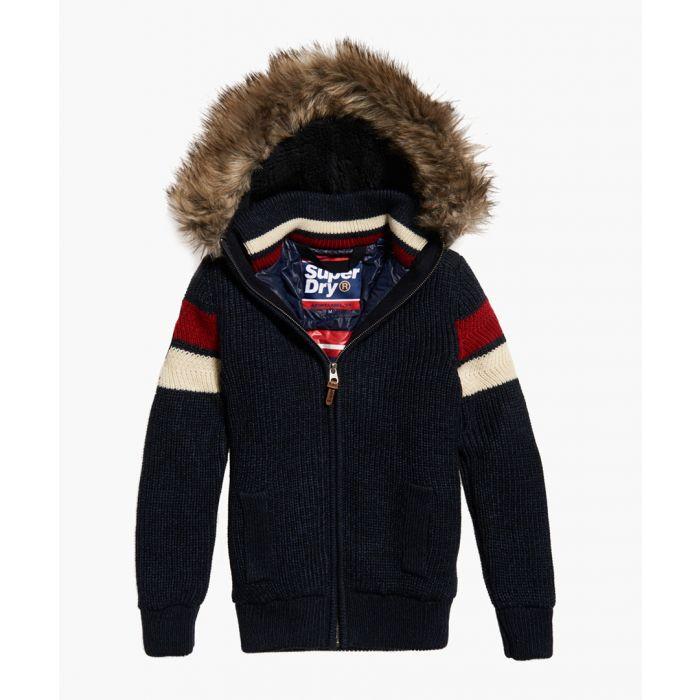 Image for Super Ski Dog navy wool blend hooded coat