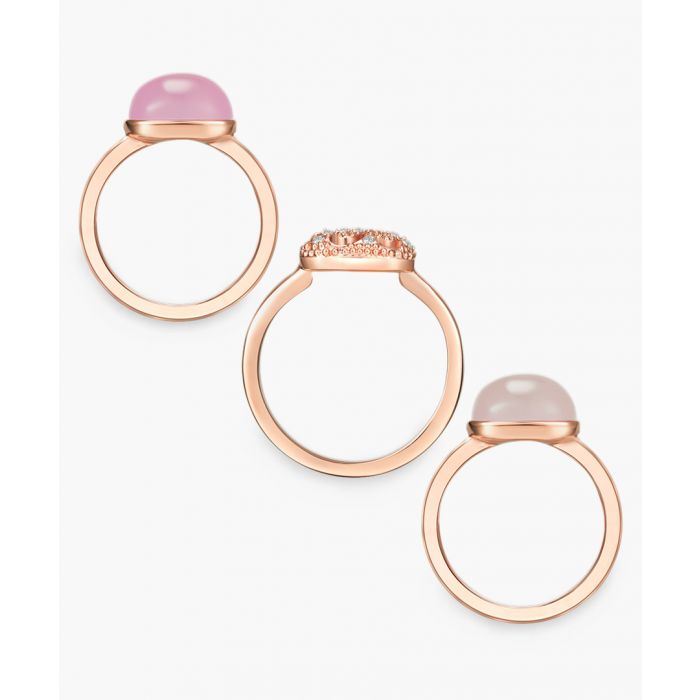 Image for Rose gold-plated and facetted swarovski crystals ring