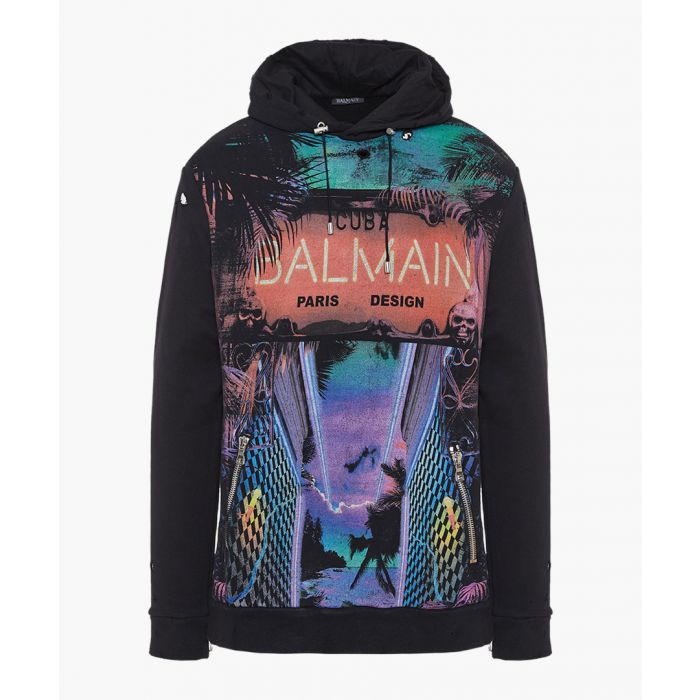 Image for Neon lights multi-coloured cotton hoodie