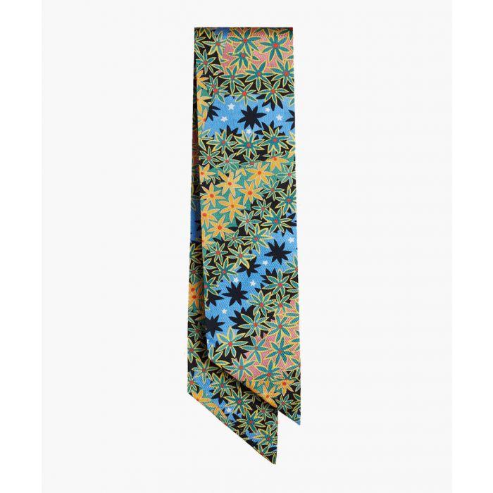 Image for Multi-coloured silk blend slim scarf