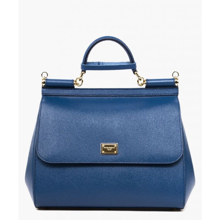 Image for Sicily blue dauphine leather tote
