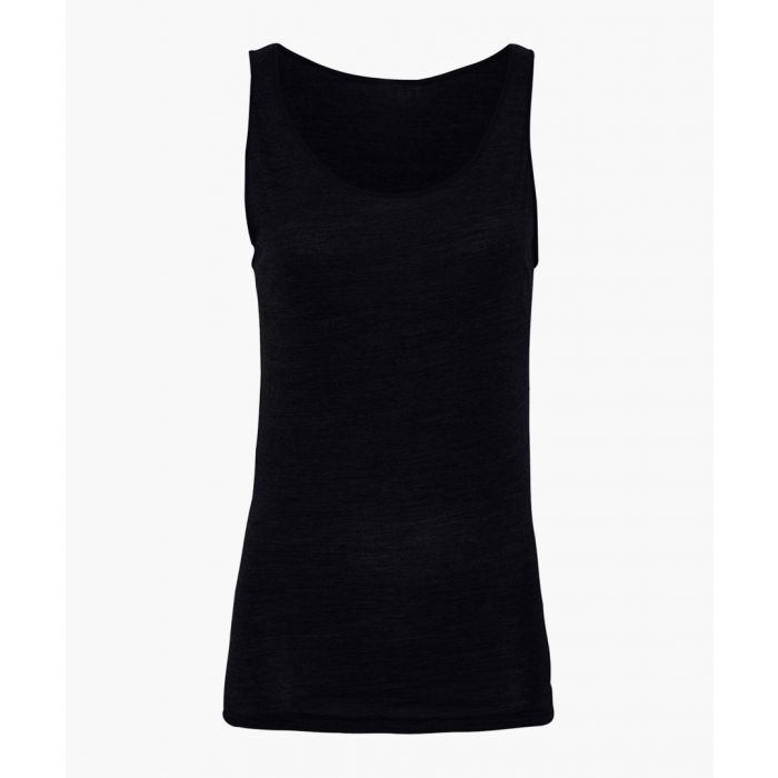 Image for Black bamboo viscose and organic wool blend top