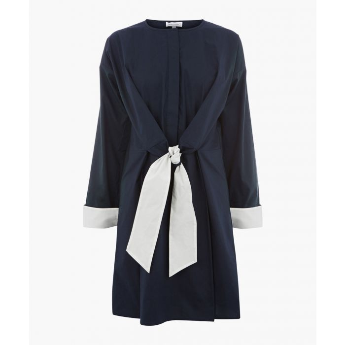 Image for Navy contrast tie cotton dress