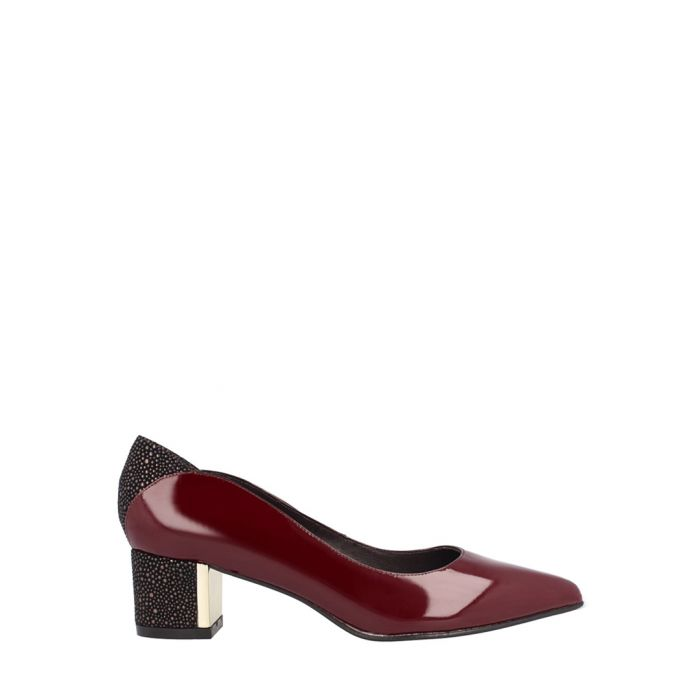 Image for Bordeaux leather block heels
