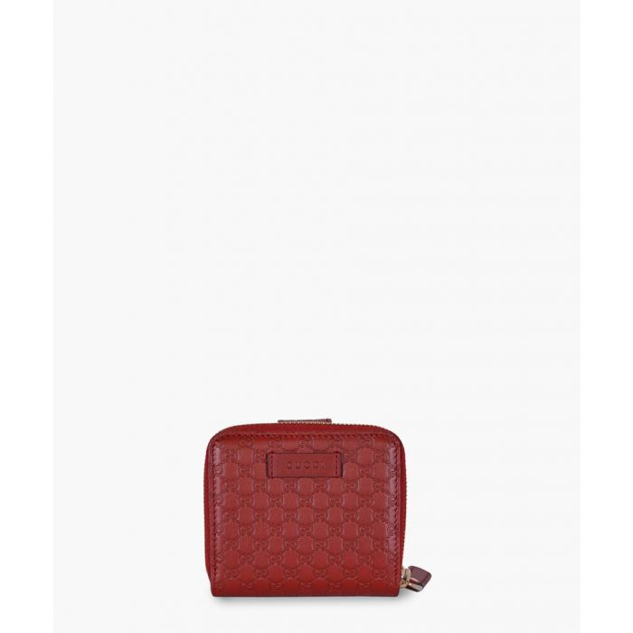Image for Red Microguccissima leather small zip-around wallet
