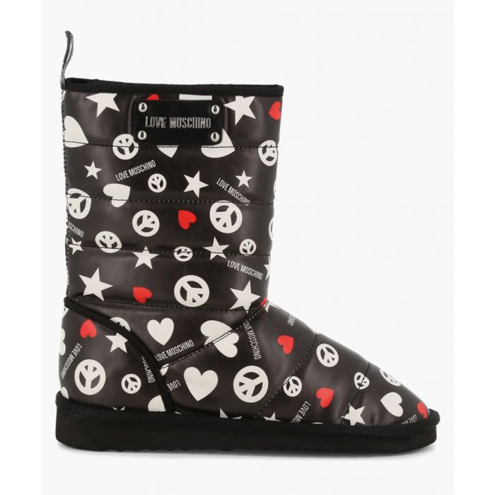 Image for Black multi-printed faux-leather boots