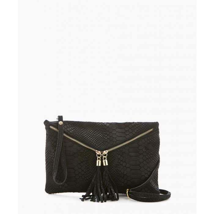 Image for Anghiari black leather clutch