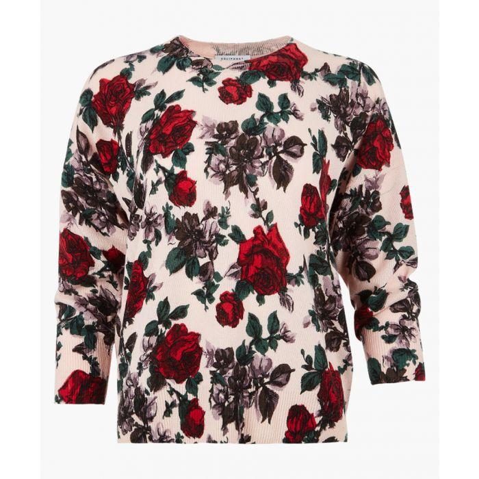 Image for Cream pure cashmere rose jumper