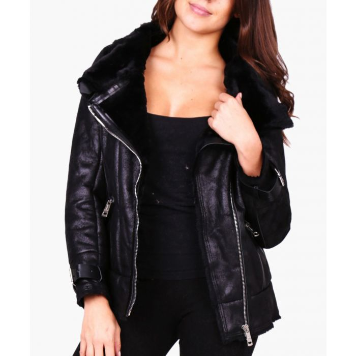 Image for Loucy black faux shearling aviator jacket