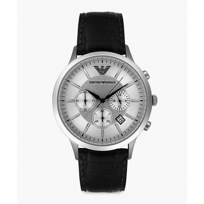 Image for Silver-tone and black leather watch