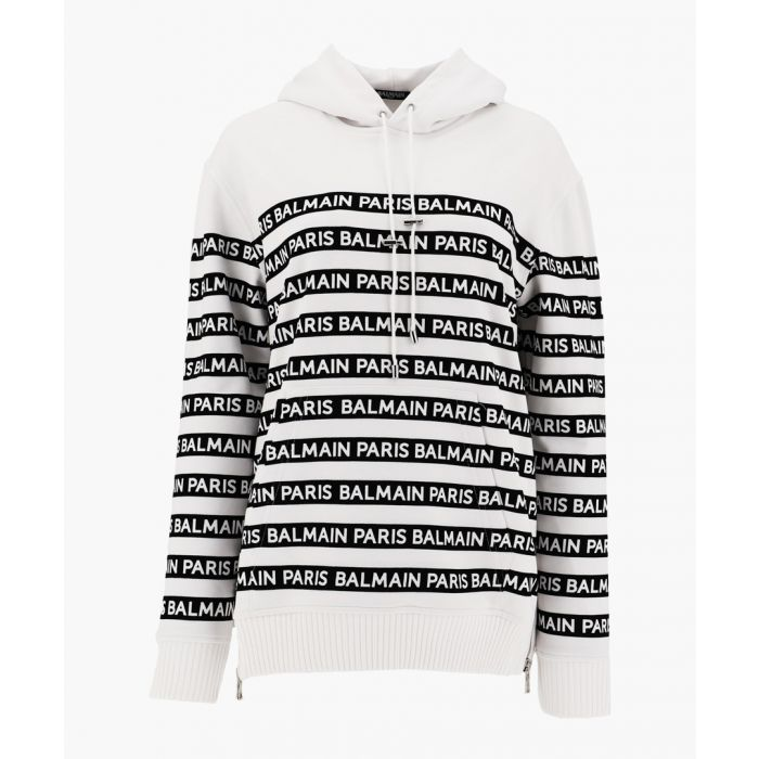 Image for hooded sweatshirt with balmain logo stripes