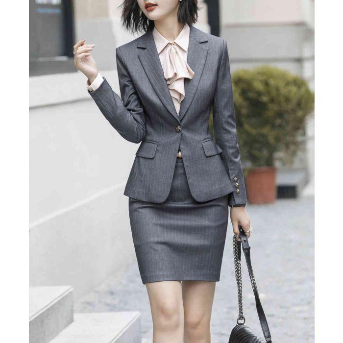 Image for Grey jacket & skirt suit set