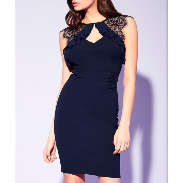 Image for Navy frill bodycon dress