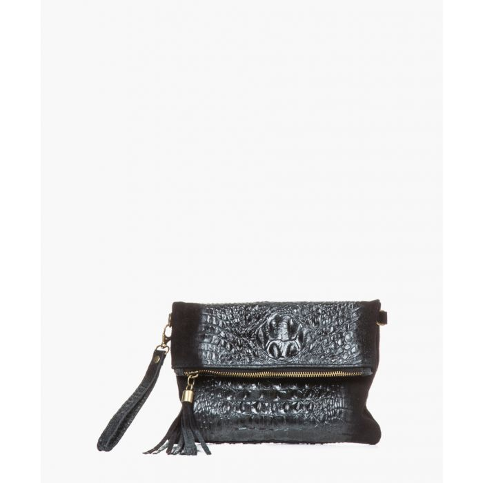 Image for Serio black leather clutch