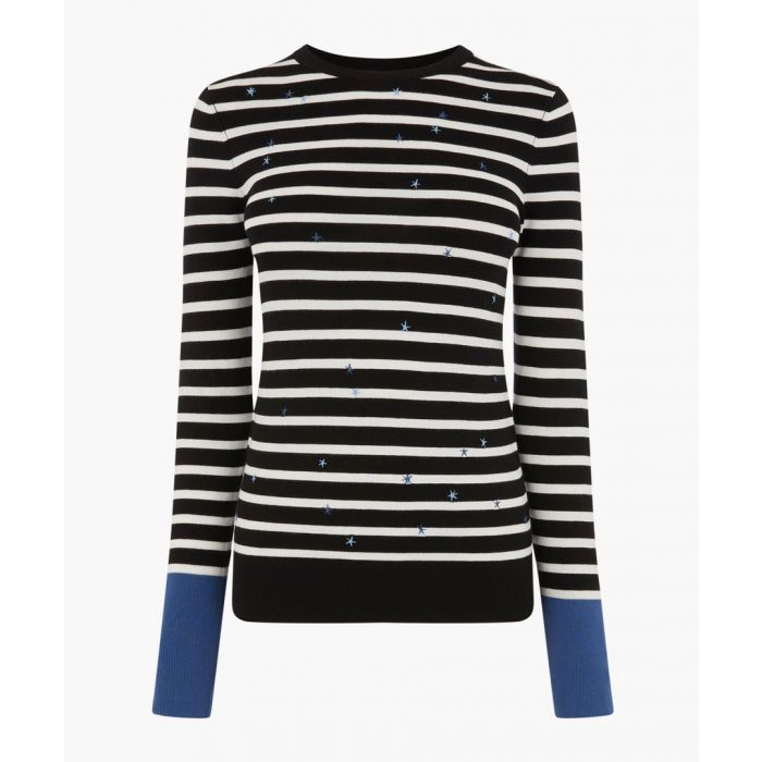 Image for Black stripe star embroidered jumper