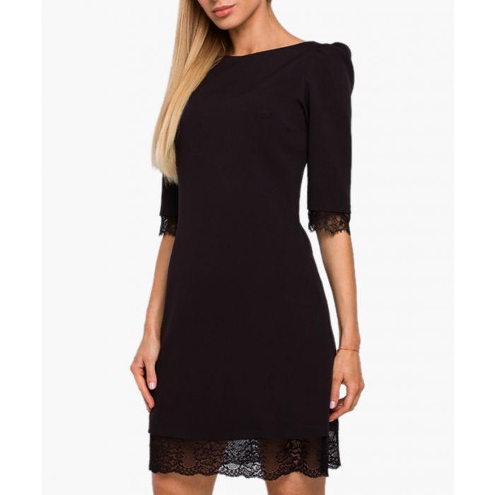 Image for Black lace trim sheath dress