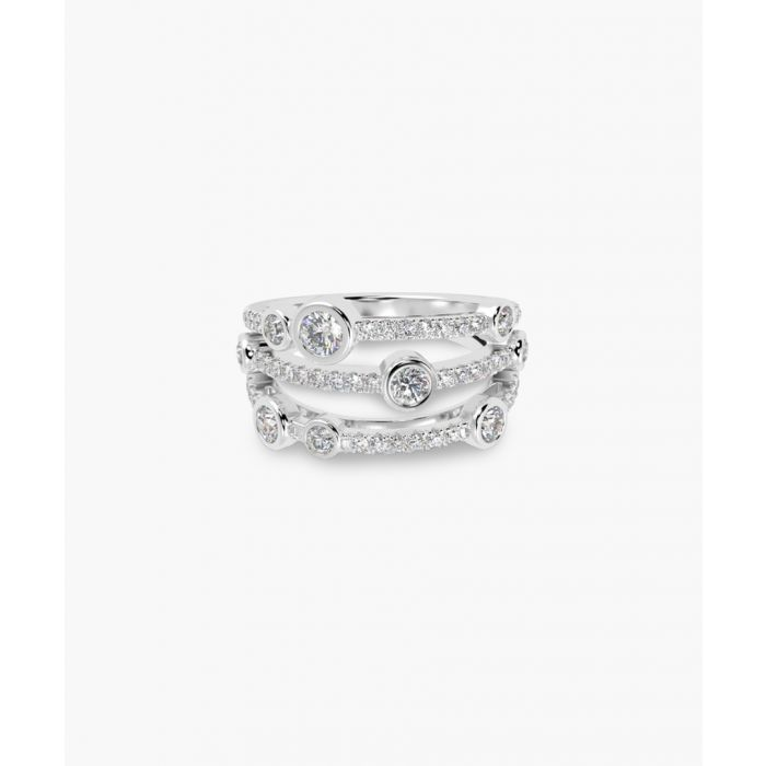 Image for 18k white gold and dancing diamond bubble ring