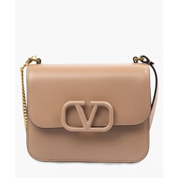 Image for Light pink leather small V ring bag