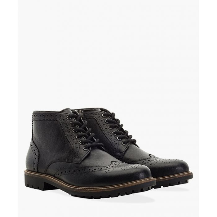 Image for Black faux-leather brogue boots