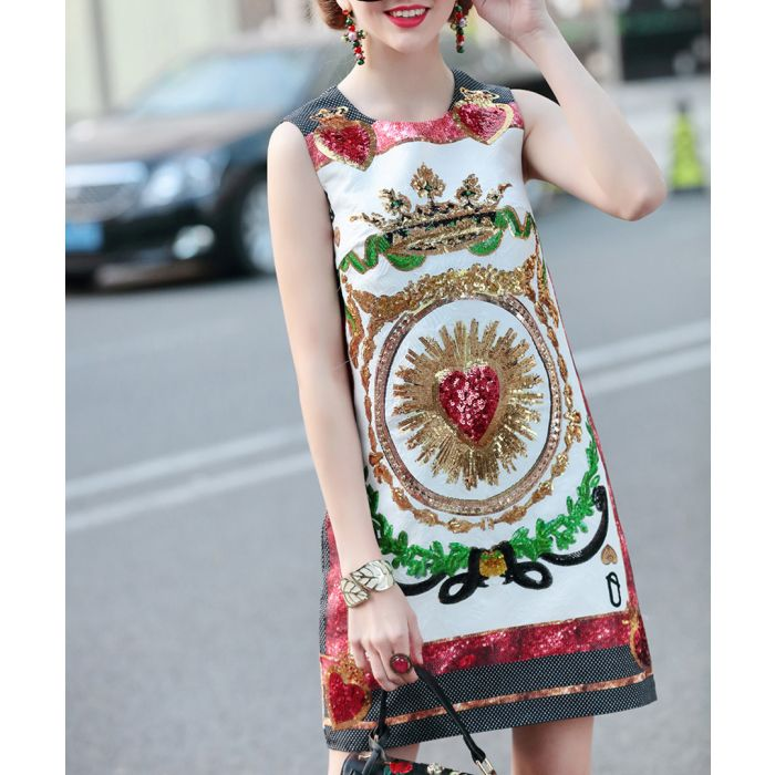 Image for White & red cotton blend print dress
