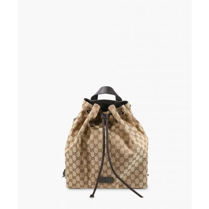 Image for Beige GG canvas and leather backpack
