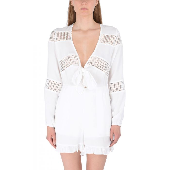 Image for White lace V-neck short dungarees