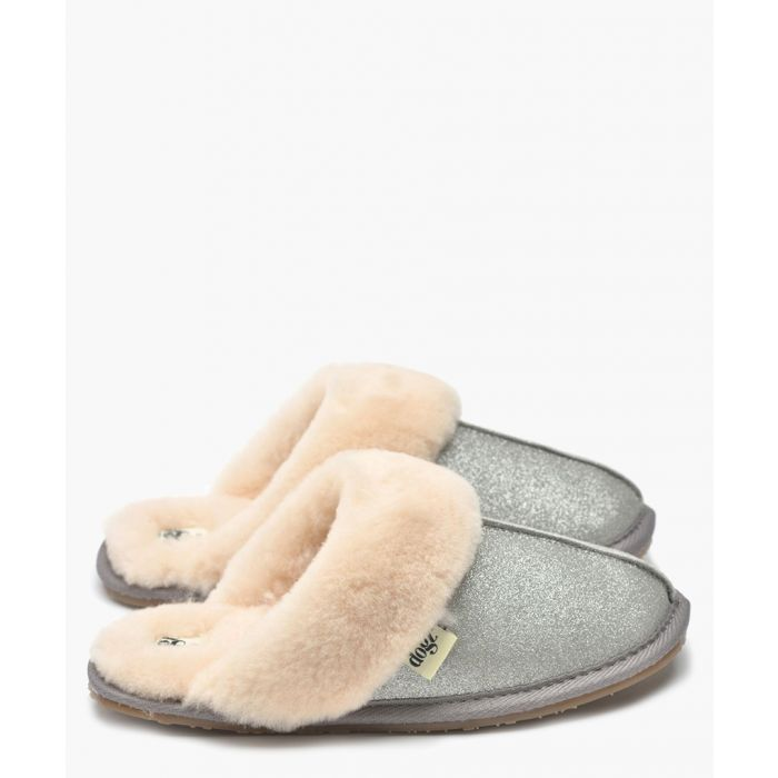 Image for Gracie silver shearling slippers