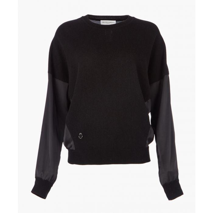Image for Black cashmere blend knit top