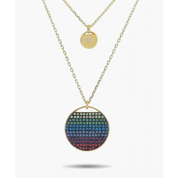 Image for Gold-plated cubic zirconia layered necklace