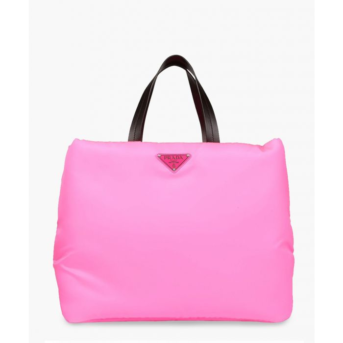 Image for Leather-trimmed nylon tote