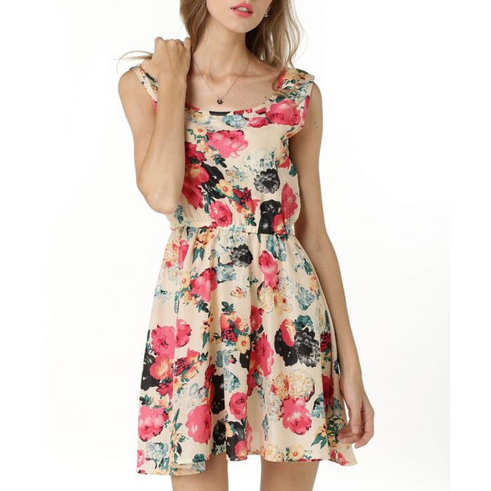 Image for Beige & pink floral dress