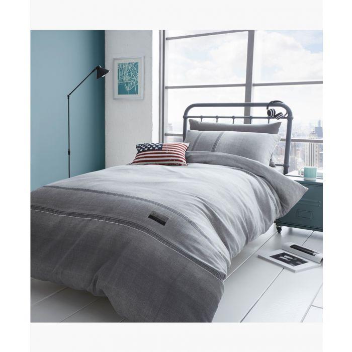 Image for Denim grey cotton blend single duvet set