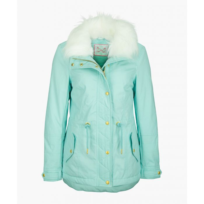 Image for Mint faux fur hooded coat