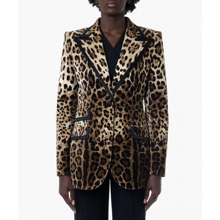 Image for Leopard print cotton blazer