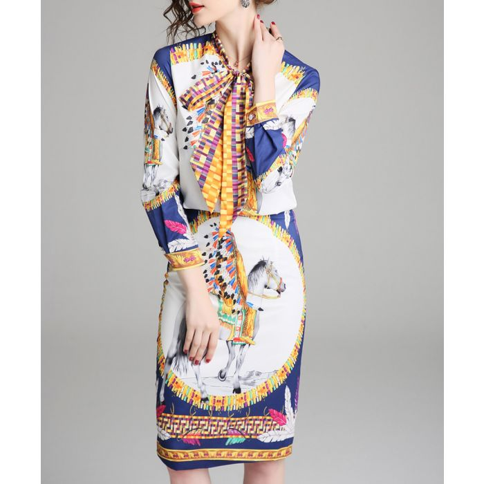 Image for 2pc Multi-colour horse print outfit set