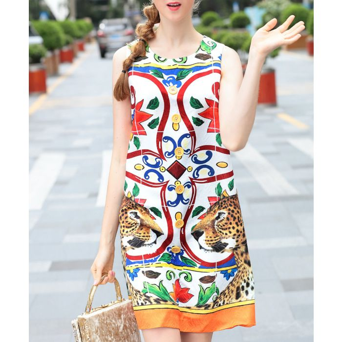 Image for White & red cotton blend shift dress