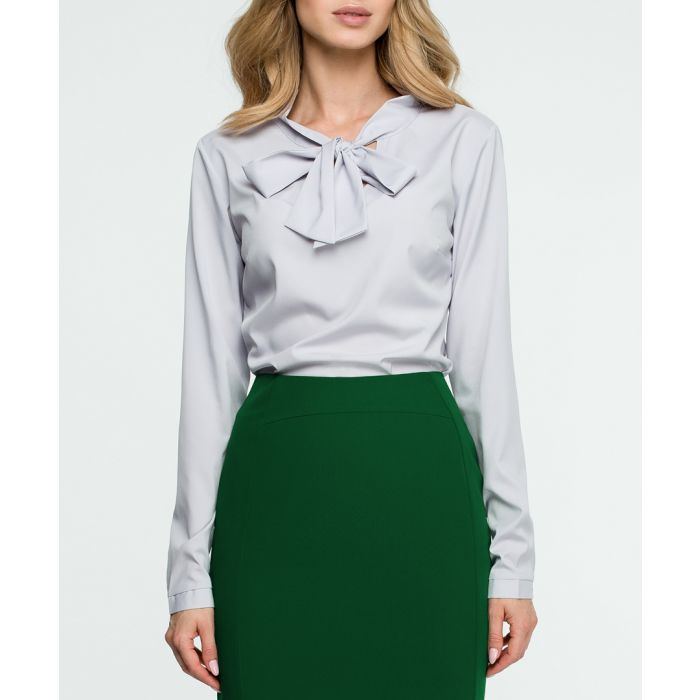 Image for Grey long sleeve pussybow blouse