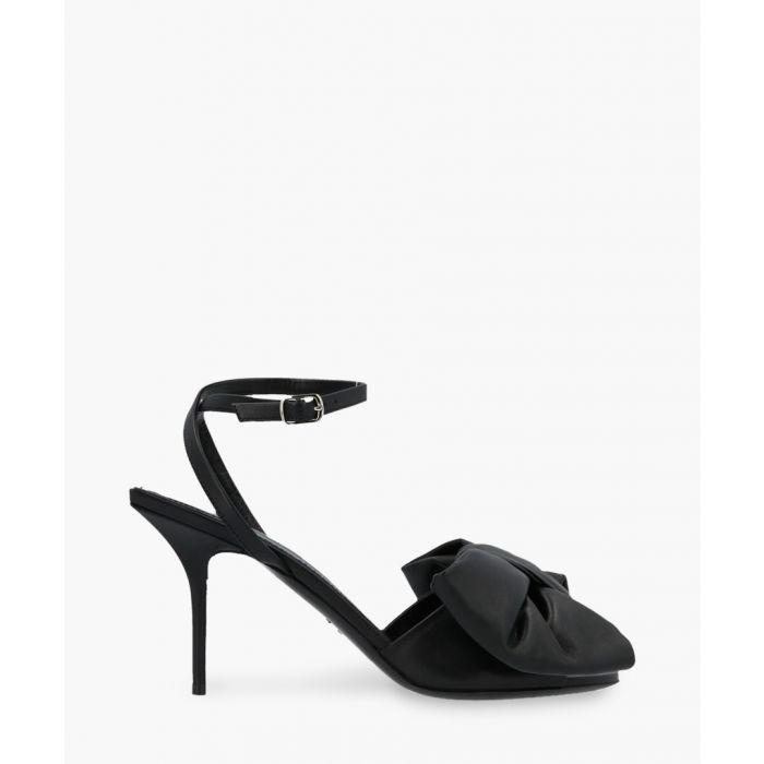 Image for Square Knife bow-embellished black leather sandals