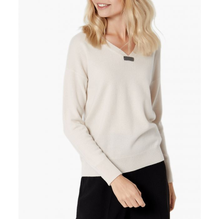 Image for Cream pure cashmere jumper