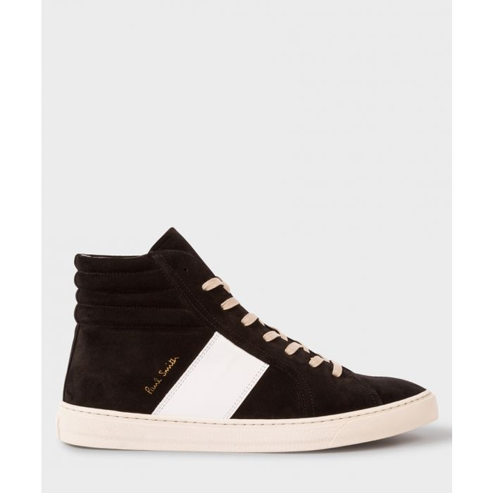 Image for Black suede contrast high-top trainers