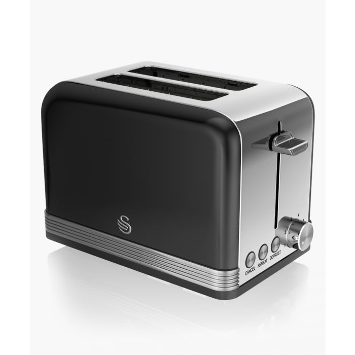 Image for Black retro 2-slice toaster