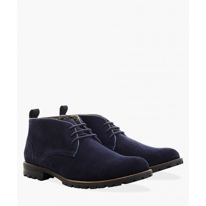 Image for Navy faux-suede water resistant boots