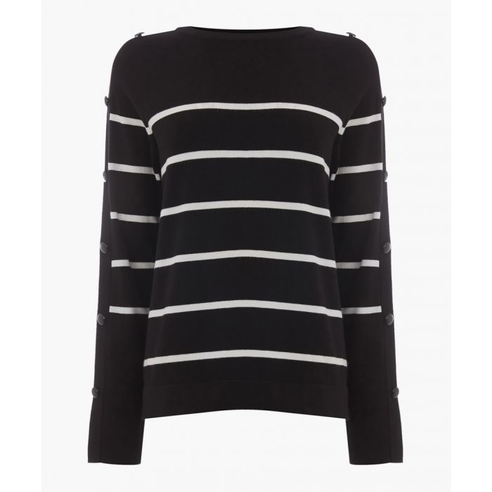 Image for Black stripe button sleeve jumper