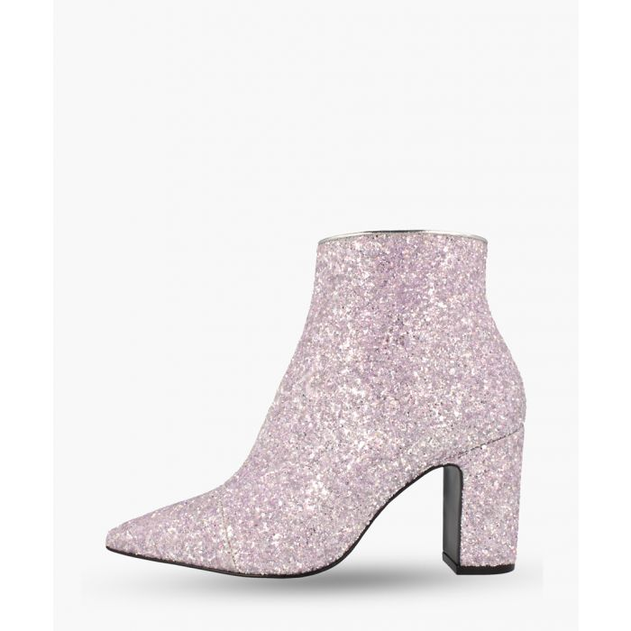 Image for Pink leather glittered ankle boots