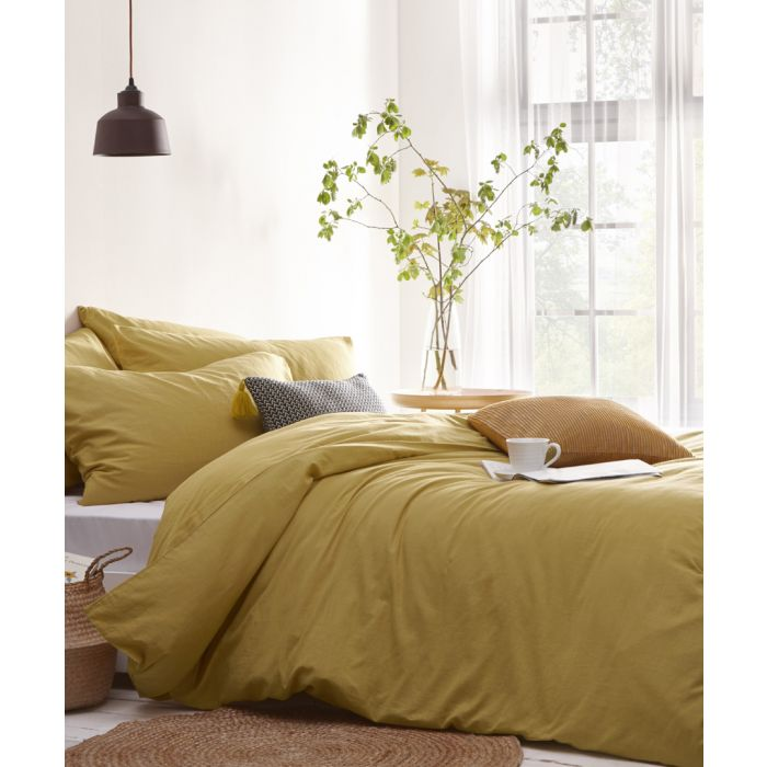 Image for Stonehouse ochre yellow double duvet cover set