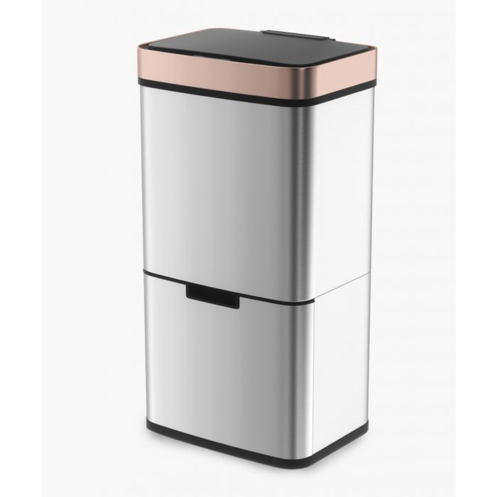 Image for Stainless steel and rose-gold sensor activated bin 75L