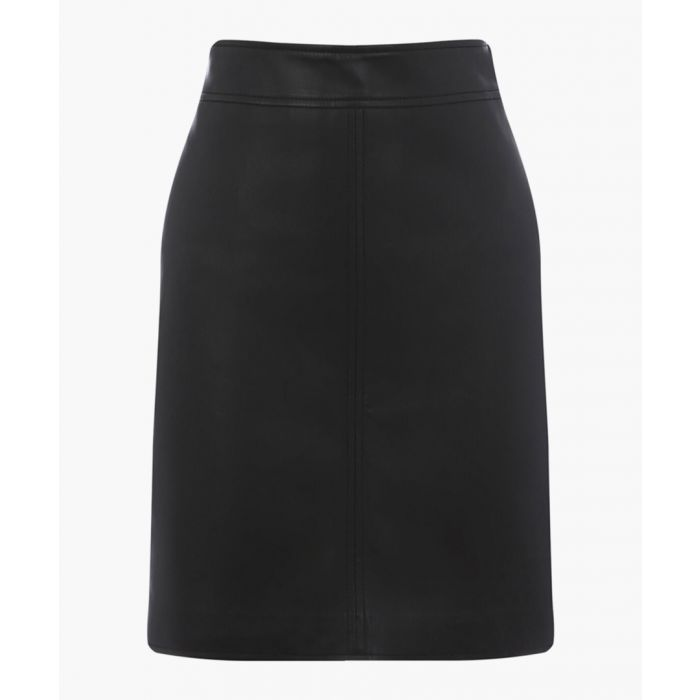 Image for Black faux leather A-line skirt